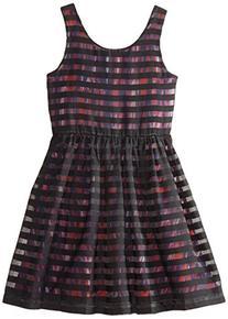 Nicole Miller Big Girls' Stripe Overlay Dress, Black, X-