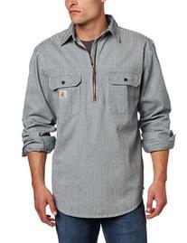 Carhartt Men's Hickory Stripe Shirt Denim Quarter Zip,