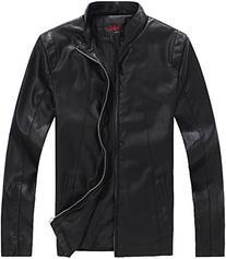 QZUnique Men's Big & Tall Slim Fit Casual Jacket PU Leather