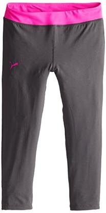 PUMA Big Girls' Tech Capri, Shadow Gray/Pink, Medium
