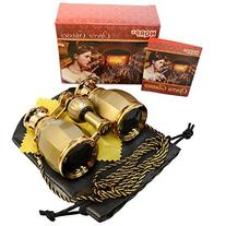 HQRP 4 x 30 Opera Glasses Antique Style Golden with Golden