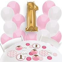 Girl 1st Birthday - Fun to be One - Confetti and Balloon