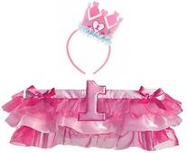 1st Birthday Girl Crown Headband and Pink Tutu High Chair