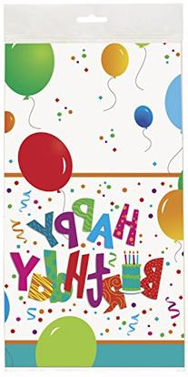 "Jamboree Birthday Plastic Tablecloth, 84"" x 54"