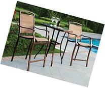 3 PC HIGH TOP BISTRO TABLE CHAIRS SET ~ SLINGBACK MATERIAL