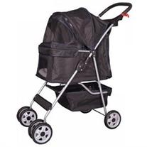 Black 4 Wheels Pet Stroller Cat Dog Cage Stroller Travel