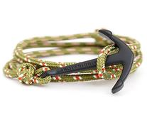 VIRGINSTONE Black Anchor Bracelets on Colorful Nylon Ropes