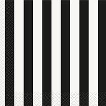 Black Deco Stripe Beverage Party Napkins- 16 ct