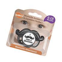 Ulubulu Black Detachable Mustache Pacifier, 6-18 Months,