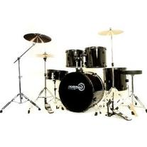 Black Drum Set 5 Piece Complete Full Size Adult Set with