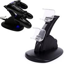 LED Black Dual Controller Charging Stand Station for