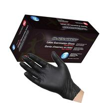 Dynarex Black Latex Exam Gloves, Powder-Free, Medium, Case/