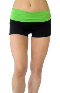 Black Fold Down Waist Yoga Short with Pink waist