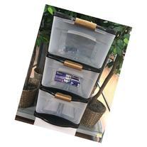 Bella Storage Black Frame+silver Lock 3 Drw Cart Med