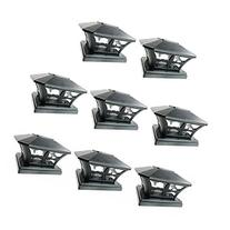 iGlow 8 Pack Black Outdoor Garden 6 x 6 Solar SMD LED Post
