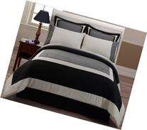 8-pieces Black Gray Hotel Bed in a Bag Comforter with Sheet