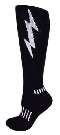 MOXY Socks Black with White Lightning Knee-High Insane Bolt