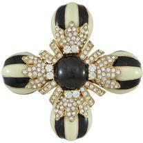 Ciner Black and Ivory Flower Brooch