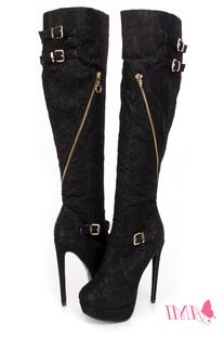 Black Knee High Strappy High Heel Boots Lace