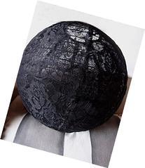 "Quasimoon 16"" Black Lace Fabric Lantern, Even Ribbing,"