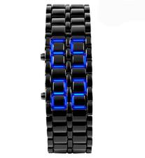 Fanmis Black Digital Lava Style Iron Blue LED Men's Women's