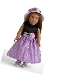 Black & Light Purple Party Dress Doll Clothes for 18""