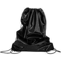 XENAB LONE - Black Patent Leather Drawstring Backpack