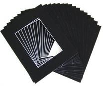 Pack of 25 11x14 BLACK Picture Mats Mattes with White Core