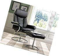 Merax Black Pu Leather Recliner and Ottoman with Metal Base