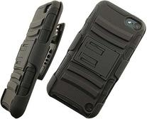 BLACK RUBBER SKIN HARD CASE STAND BELT CLIP HOLSTER FOR iPOD