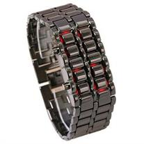 Bundle Monster Unisex Black Stainless Steel Red LED Lava