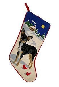 Black and Tan Chihuahua Dog Needlepoint Christmas Stocking