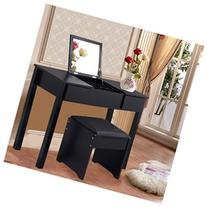 Costway Black Vanity Dressing Table Set Mirrored Bedroom