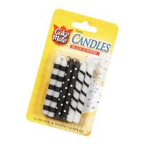 Cake Mate Black & White Party Candles, 12 ct