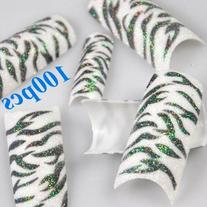 350BUY 100pcs Black White Zebra Design Tips Glitter Acrylic
