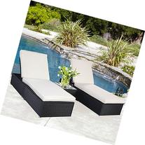 BLACK Wicker Rattan Chaise Lounge Chair Set Patio Steel