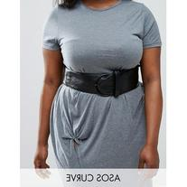 ASOS CURVE Black Wide Waist Belt With Ring Buckle