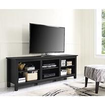 "WE Furniture 70"" Black Wood TV Stand Media Console"