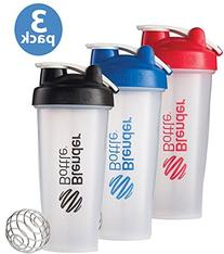 BlenderBottle 3-Pack Water Bottle of 28oz, Blue/Black/Red,