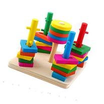 Block Wise Disk Five Column Set Building Blocks Wooden