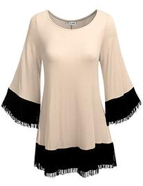SJSP Comfortable Color Blocked Unbalance Hem Tunic Top CREAM