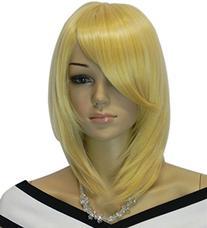 Diy Women's Medium Size Blonde Color Oblique Bangs Heat-