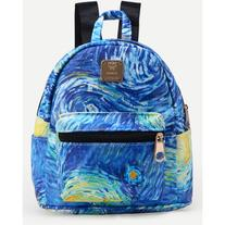 Blue Faux Leather Starry Night Print Backpack