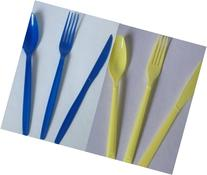 Blue and Pastel Yellow Forks Spoons Knives - 96 pc Set