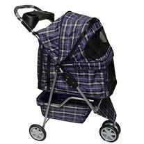 Blue plaid 3 Wheels Pet Dog Cat Stroller w/RainCover by