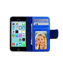 MobilePick Blue PU Leather Magnetic Flip Wallet Stand