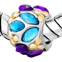 Pugster Blue Purple Flower Swarovski Element Crystal Charm