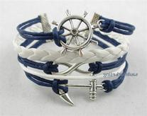 Blue Rudder Anchor Leather Rope Bracelet Nautical Vintage
