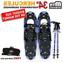 """New MTN 34"""" BLUE All Terrain Snowshoes+ Nordic Pole + Free"""