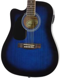 Blue Full Size Thinline Acoustic Electric Guitar with Free